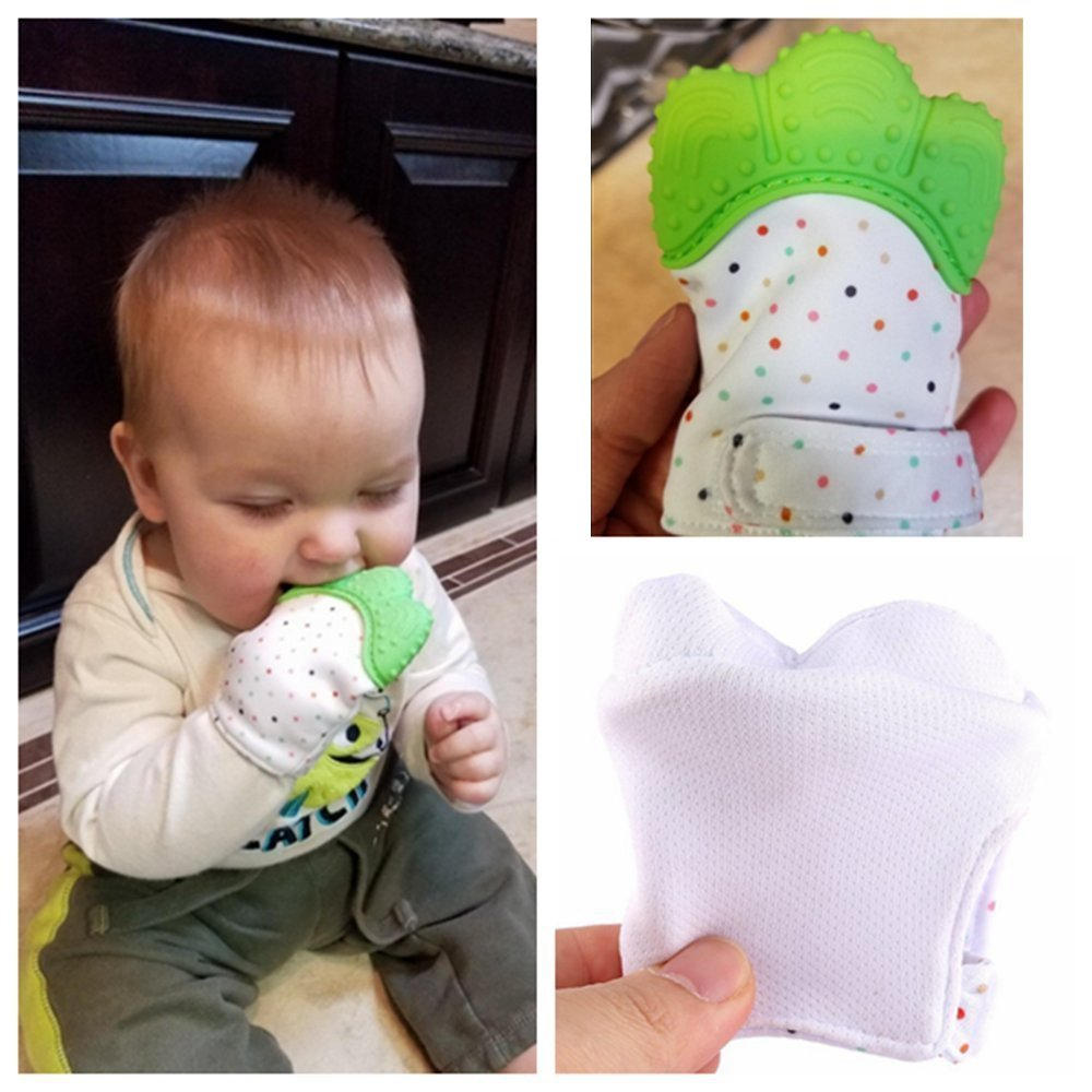 Petforu 1 Pair //2pcs Baby Self-soothing Teether Crawling Protective Gloves for Toddlers FDA Approved BPA Free Teething Mitten