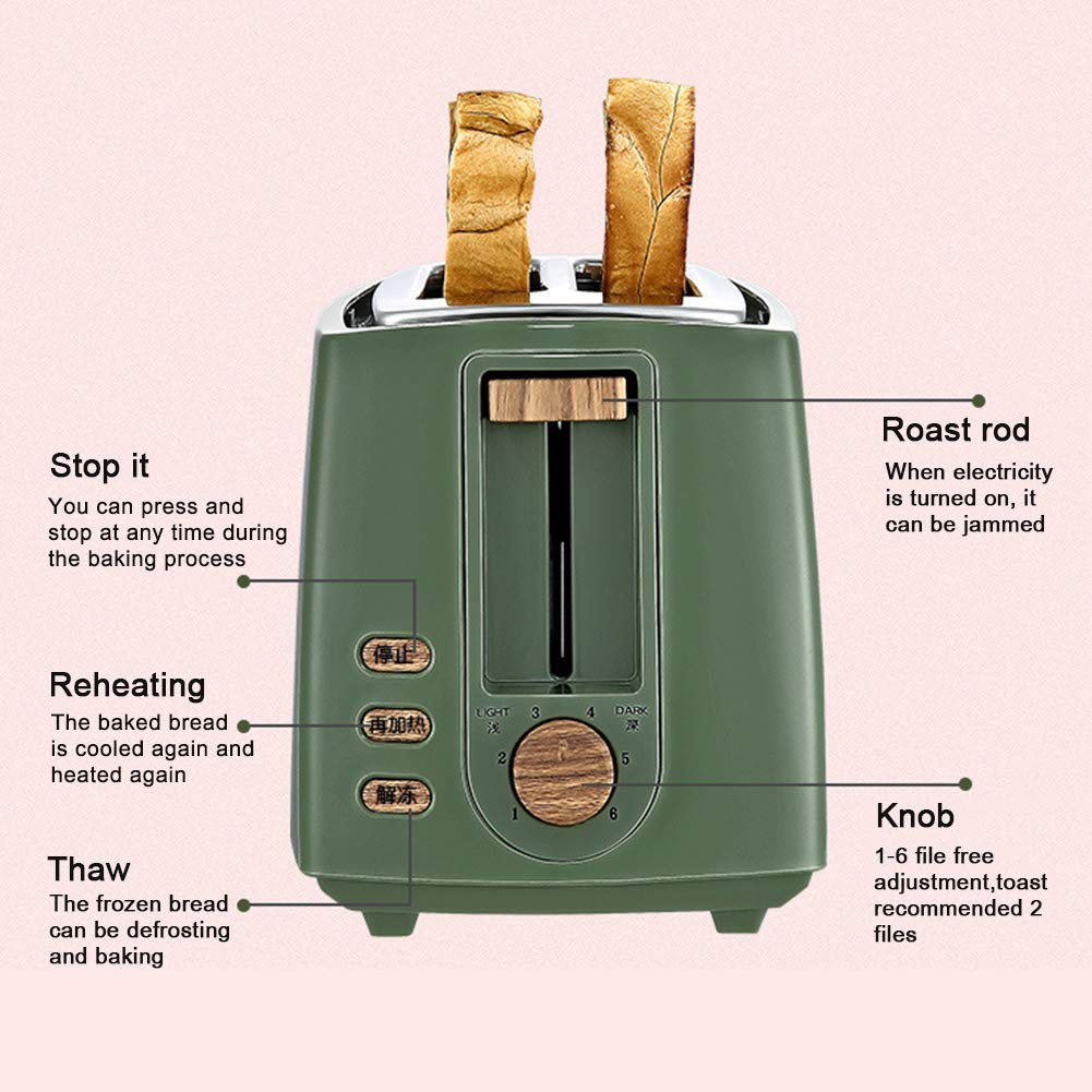 Gyswshh 2-slice Automatic Electric Toaster, Breakfast Maker,Household Bread Toast Machine Green by Gyswshh (Image #4)