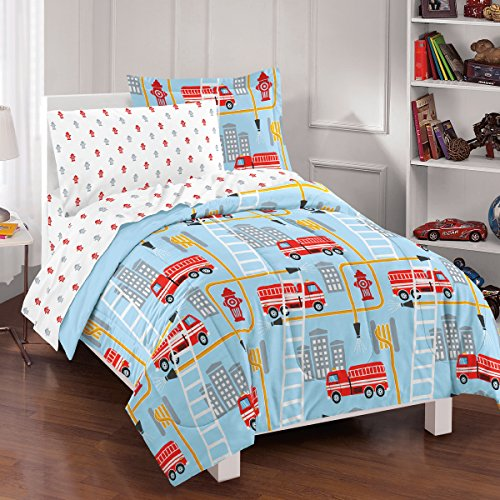 dream FACTORY Fire Truck Ultra Soft Microfiber Comforter Set, Twin, Blue