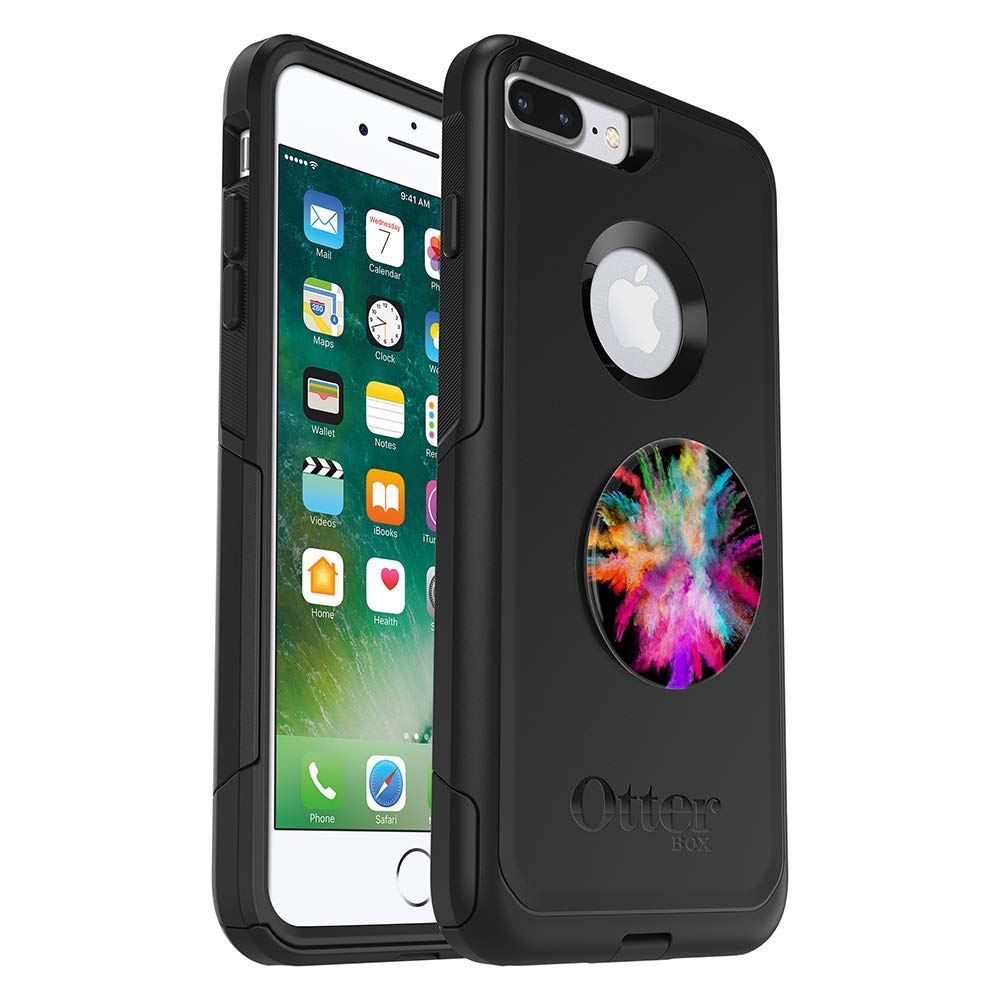 Bundle: OtterBox Commuter Series Case for iPhone 8 Plus & iPhone 7 Plus (ONLY) - (Black) + PopSockets PopGrip - (Color Burst Gloss) (Renewed) by OtterBox