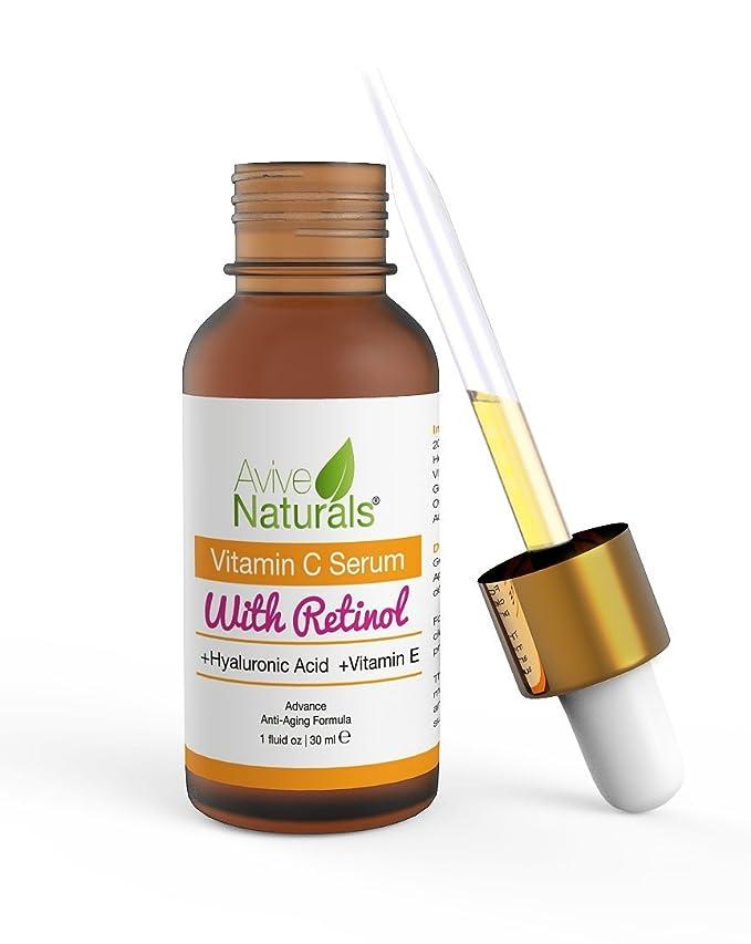 Sérum orgánico de vitamina C y retinol de eficacia médica para rostro y cuello con ácido hialurónico. El mejor sérum antienvejecimiento y antiarrugas.