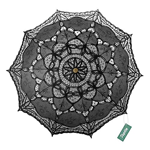 TopTie Lace Umbrella Parasol Wedding Bridal Photograph For Decoration Halloween Costume Accessories-Black