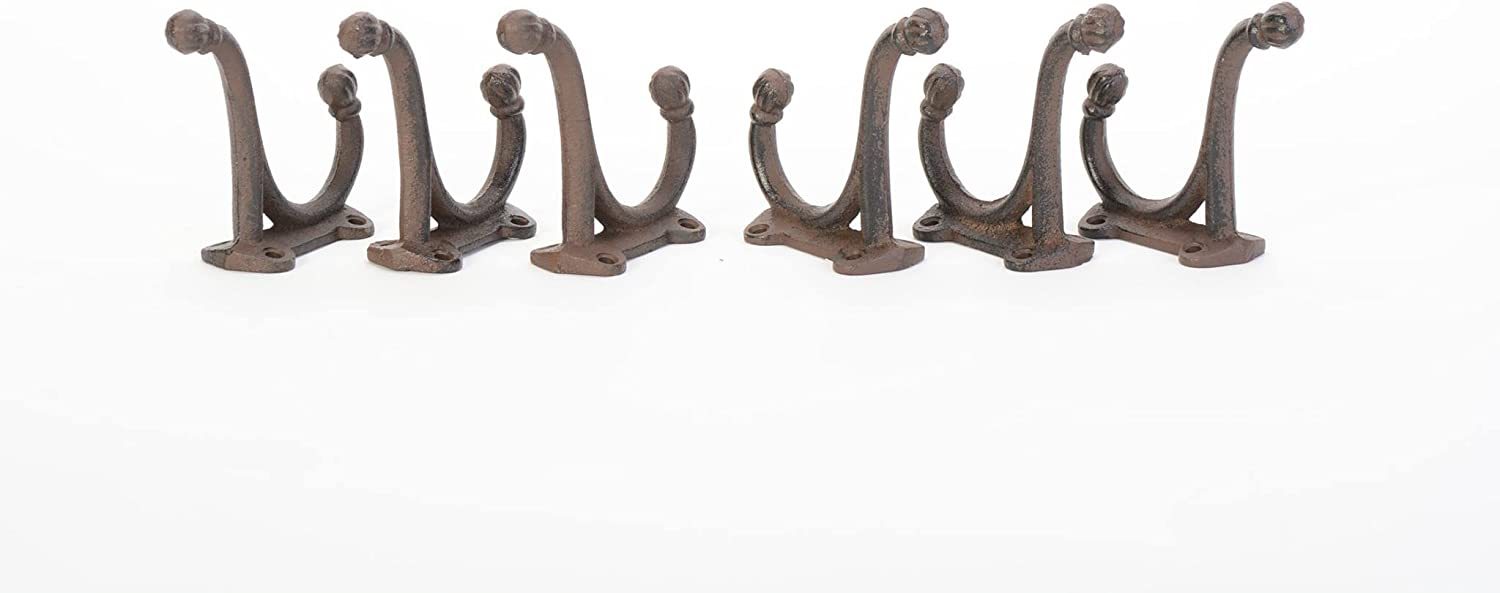 """6 WHITE ANTIQUE-STYLE DOUBLE SCHOOL COAT HOOKS RUSTIC CAST IRON 3/"""" wall hardware"""