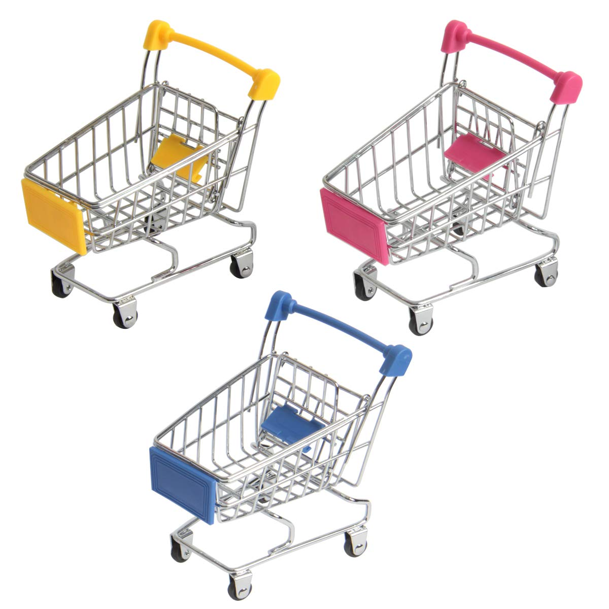 HAPY SHOP Mini Supermarket Handcart,3 Packs Mini Shopping Cart Shopping Utility Cart Mode Storage Toy Desk Organizers-Pink,Yellow,Blue