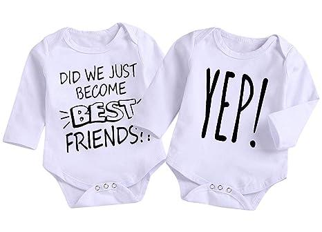 d1bdaff928857 Mini honey 2Pcs Infant Twins Baby Boys Girls Short Sleeve Letter Print  Romper Bodysuit Summer Outfit Clothes (6-12 Months