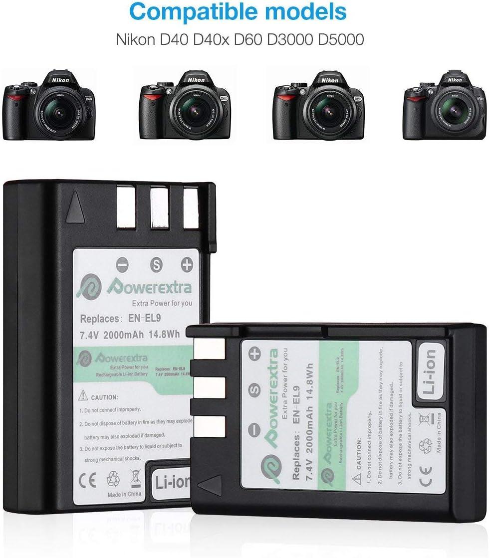 Amazon.com: Powerextra 2 Pack batería y cargador de dual LCD ...