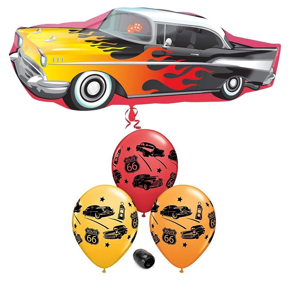 35 50s Rockin Car Foil Mylar Balloon /& 11 Classic Cars Rt 66 Print Latex Balloon Bundle