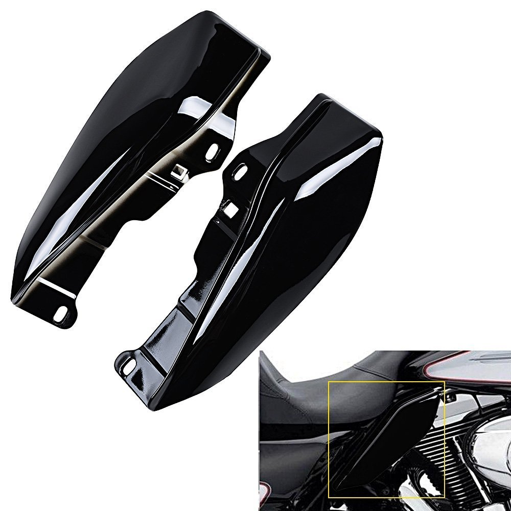 1 Set Mid-Frame Air Deflectors, ECLEAR Fairing Side Cover Shield For Harley Touring Street Road Tri Glide 2009-2016 - Black