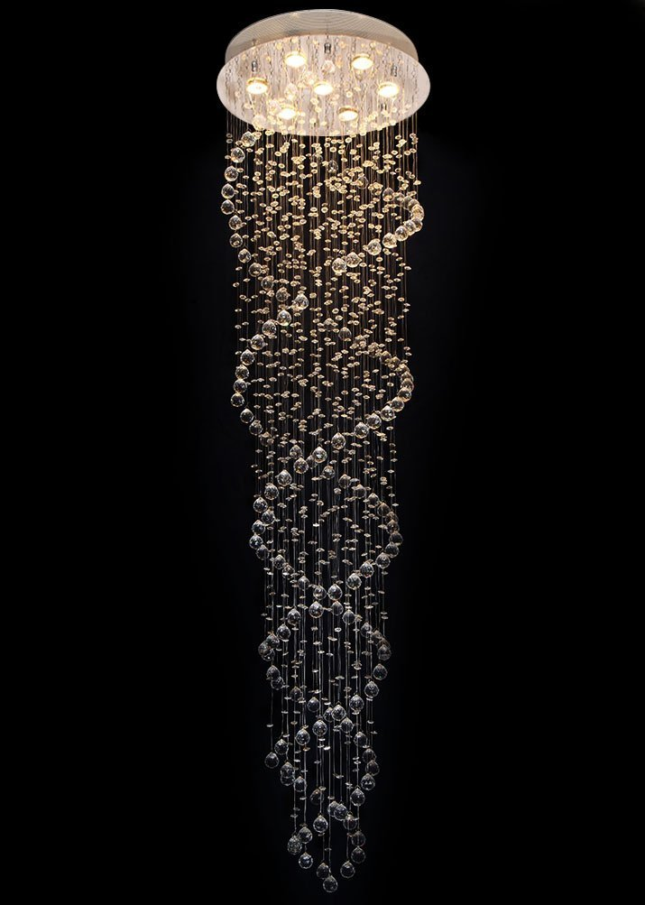 Modern Double Spiral Rain Drop LED Ceiling Crystal Chandeliers Light Fixtures with 7 Lights for Living Room, Hallway, Entry, Romantic Wedding and Special decoration by ChangM