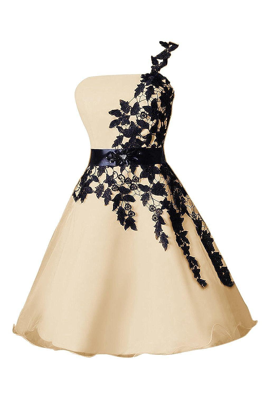 Champagne DianSheng Short Organza Homecoming Dress One Shoulder Homecoming Dress CK339