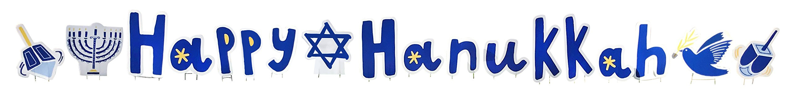 Happy Hanukkah - Advanced Graphics Outdoor Life Size Standup Yard Sign - For Outdoor Use