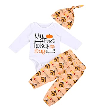 f8df99fee Amazon.com: Unisex Baby Thanksgiving Outfit Newborn Boy Girl My First  Turkey Day Letter Romper Turkey Pant with Hat Clothes Set: Clothing