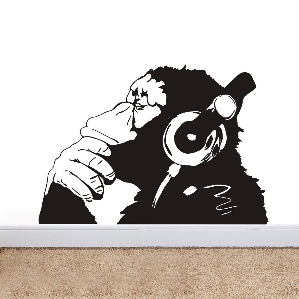 Large Banksy Graffit Monkey Wall Decal Headphone Music Chimp Wall Mural Art Vinyl Wall Sticker for Living Room Bedroom Street Graffit Wall Stickers W-23 (70X100CM, BLACK) YOYOYU