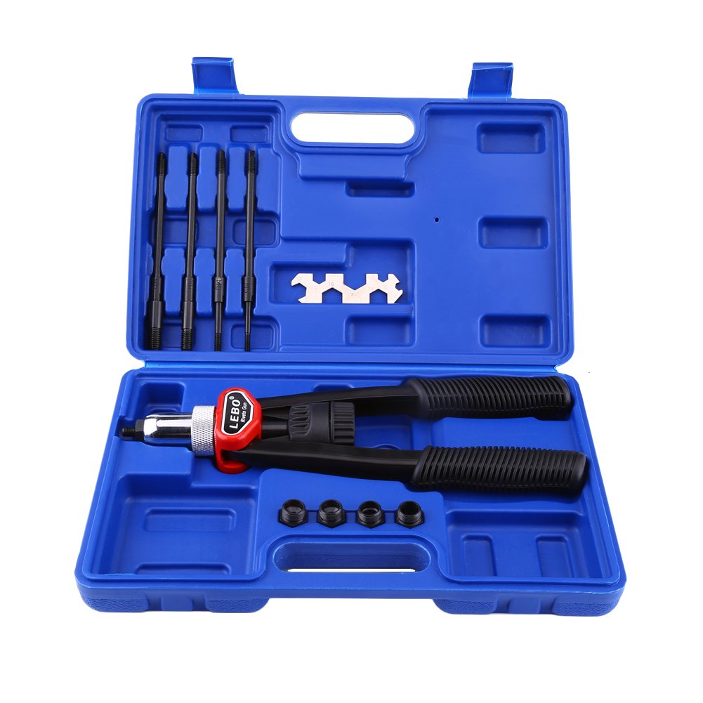 Hand Riveters Kit, Hand Nut/Thread Setting Riveter Kit Riveting Tools with Nosepieces M5, M6, M8, M10, M12