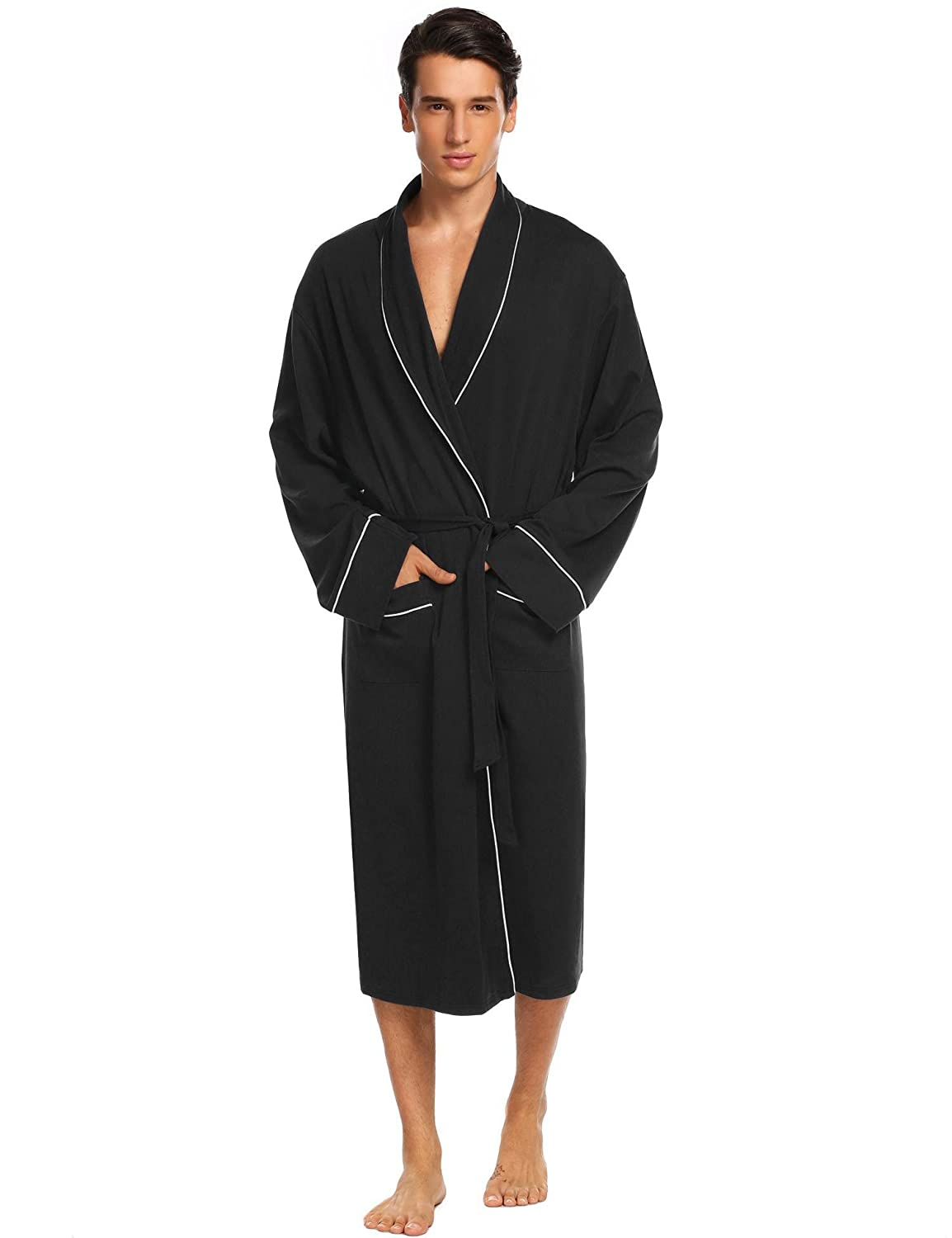810922fb333  Classic Design This bathrobe features a woven kimono. 2 front patch  pockets are perfect for holding your phone. Shawl collar lightweight robe  with ...