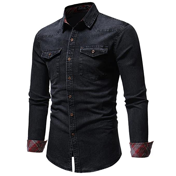 Realdo Mens Autumn Winter Vintage Distressed Solid Denim Long Sleeve Button Down T-Shirt Top