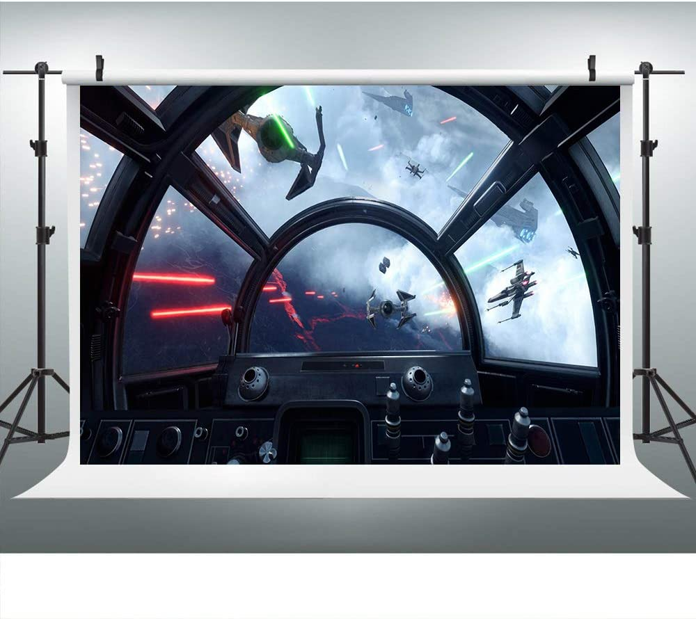 Spaceship Deck Cockpit Red Laser Missile Photography Backdrop for Party, 9x6FT, Spacecraft Sci-Fi Wars Millennium Falcon Background, Photo Booth Studio Props LYLU584
