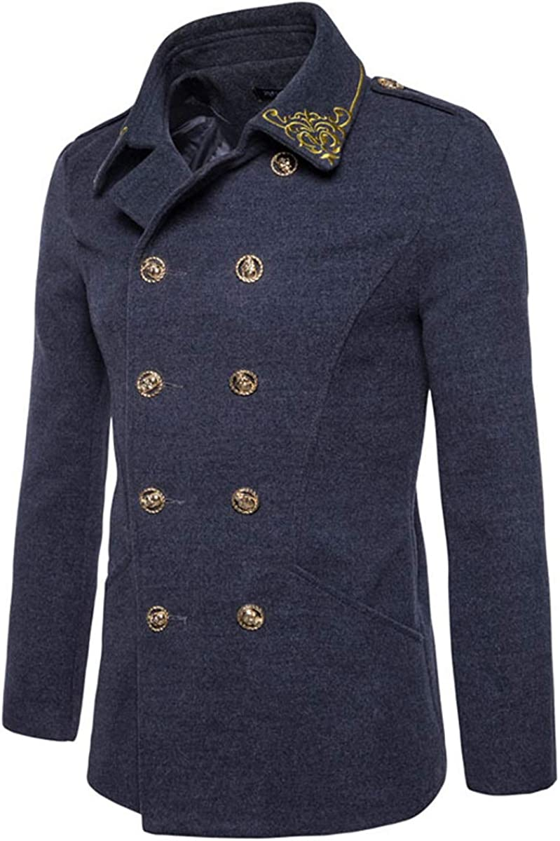 Qinni-shop Men Gray Red Green Embroidered Double Breasted Wool Jacket Winter Coat