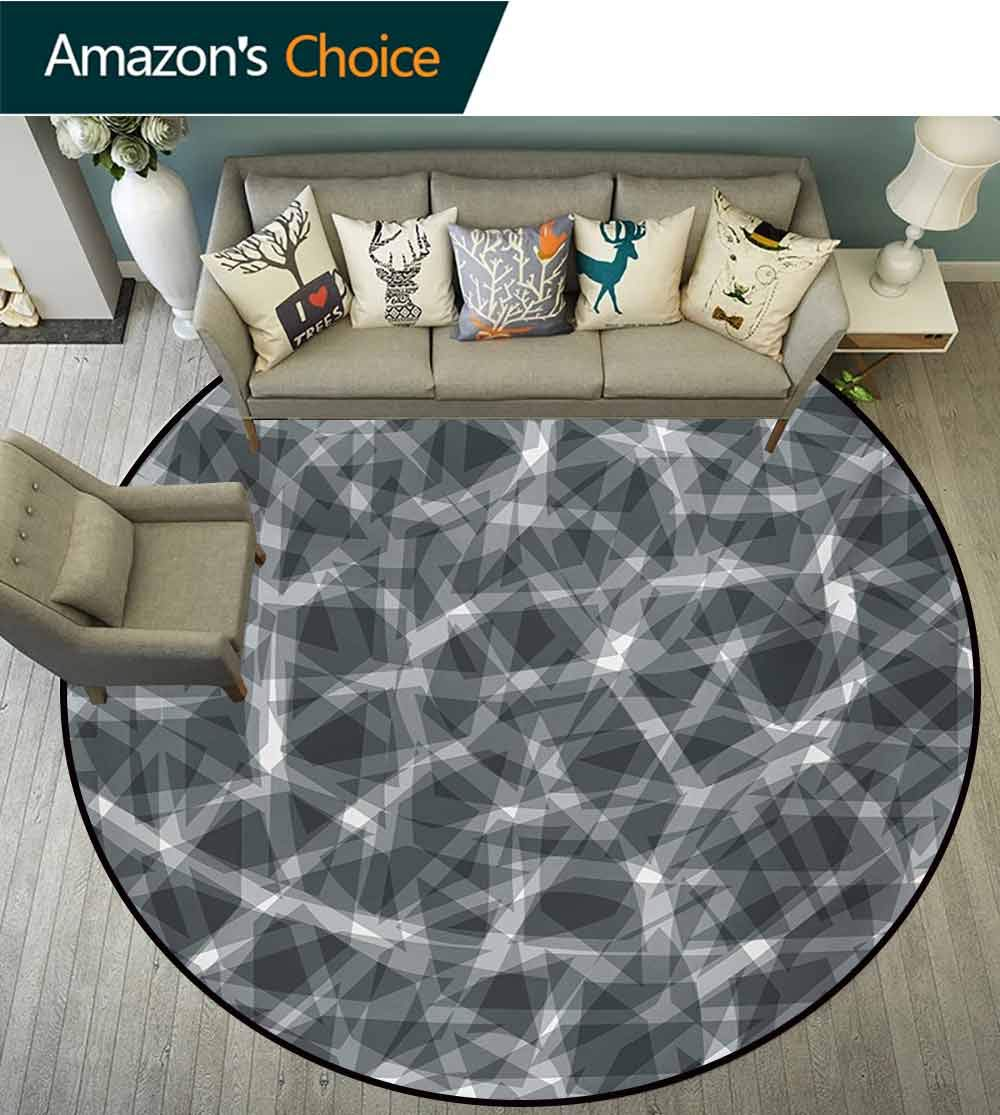 RUGSMAT Grey Round Rugs for Bedroom,Trippy Grunge Haze Digital Display with Fractal Pieces Parts Lines Contemporary Bents Art Circle Rugs for Living Room,Diameter-71 Inch Dark
