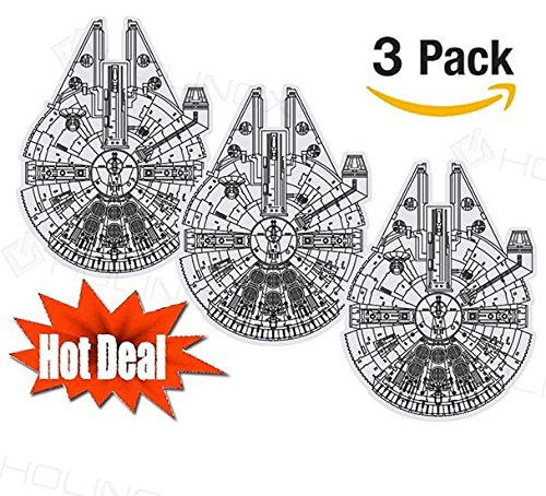 SET OF 3 - STAR WARS Millennium Falcon Stickers Decal - High Resolution, Superior Finish and Transparent Background - Ideal for Car, Motorcycle, Laptop, Macbook, iMac, Wall Art (Set Of - Decals Transparent