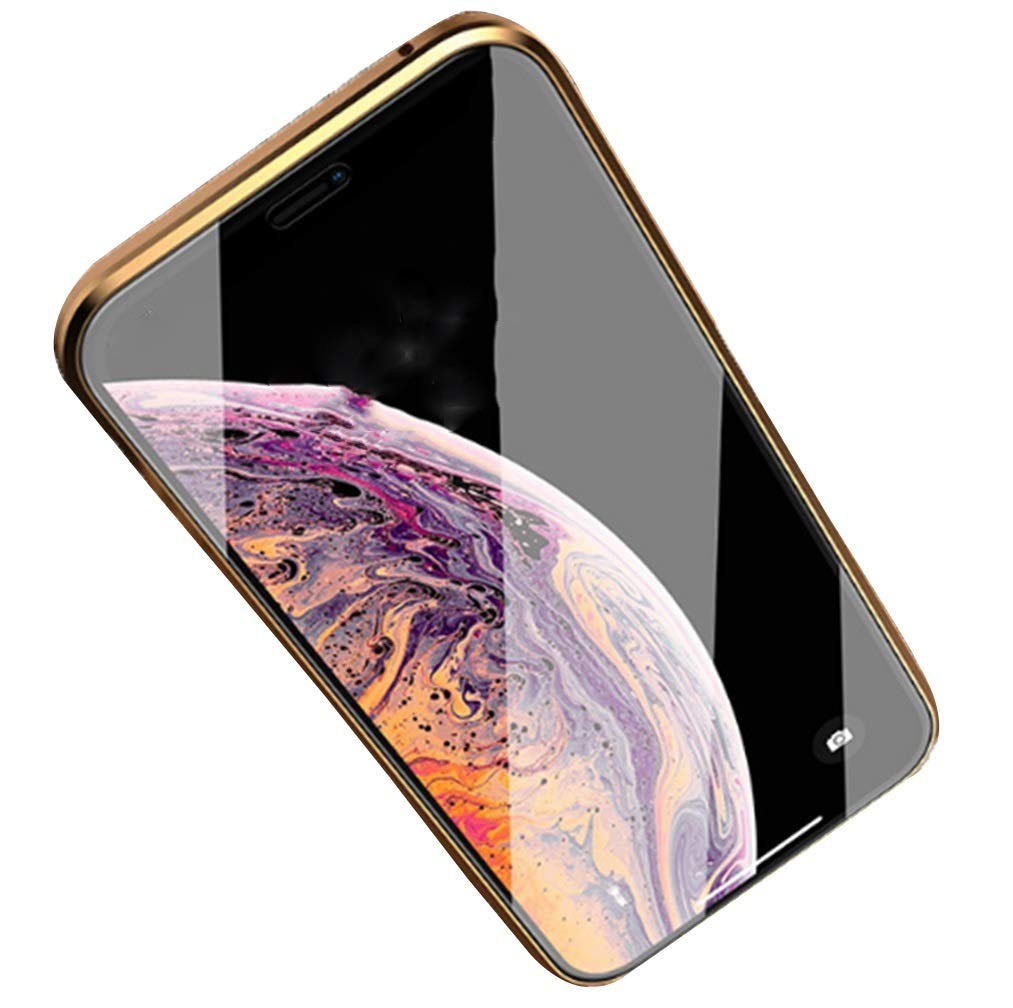 Phone Charms Double Sided Glass New All Inclusive Mobile Phone Shell Iphonex Drop Transparent Personality Shell 8plus Magnetic Men and Women Seamless Fit Gold