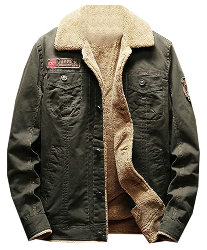 f94fd0443a6 Fensajomon Men s Plus Size Winter Faux Fur Lined Thicken Denim Jacket Coat  at Amazon Men s Clothing store