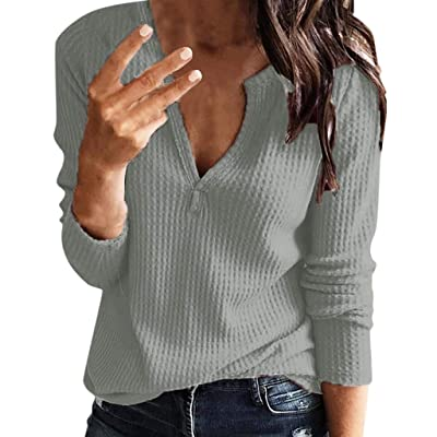 Chaofanjiancai Women's Casual Long Sleeve V Neck Solid Henley Shirt Rib Knit Blouse Button Tunic Tops at Women's Clothing store