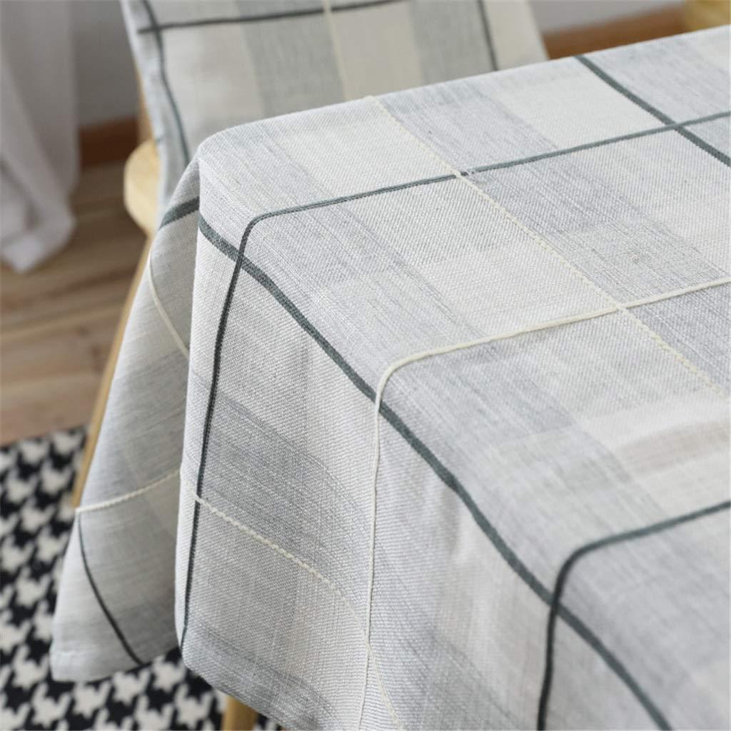 JIAO ES Mantel Mantel Mantel Impermeable Gris Claro Azul Restaurante Country Simple Americano Mantel Gris de Picnic b74264