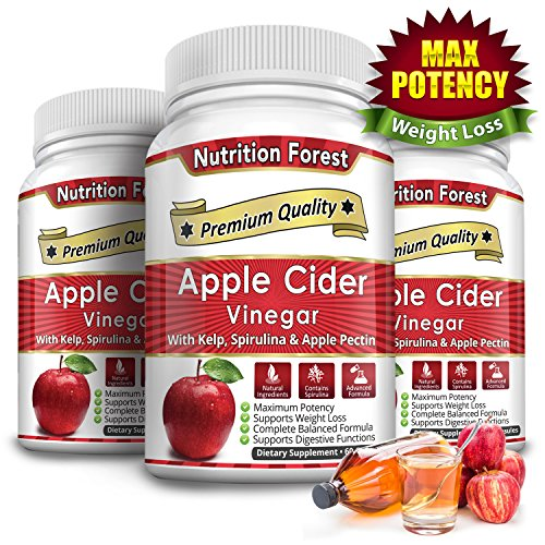 Nutrition Forest Apple Cider Vinegar Veggie Capsules - Extra Strength and Gluten Free by Nutrition Forest