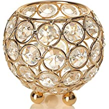 VINCIGANT Gold Crystal Candle Lantern Holders for Home Decor/Wedding Party Coffee Table Decorative Centerpiece,Father's Day House Gifts