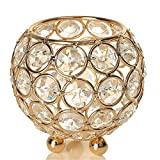 VINCIGANT Gold Crystal Candle Lantern Holders for Home Decor/Modern Wedding Party Coffee Table Decorative Centerpiece,Anniversary Celebration House Gifts