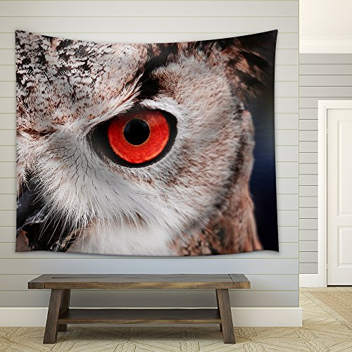 Closeup of an Owl with Red Eyes Fabric Wall
