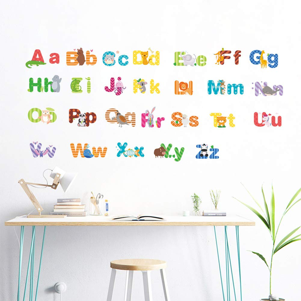 Woodland Arts DIY 36 x 15 Colorful Animal Alphabet ABC Kids Wall Decals Wall Stickers Peel and Stick Removable Wall Stickers for Kids Nursery Bedroom Living Room