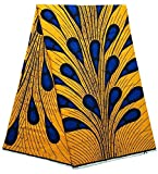 African ankara fabric African wax Print fabric for sewing dress Clothing Designs Wax Material For Fashion, Dresses, Top, Skirt, Jewelry, Shoes, Bags, Head Wraps. 6 Yards (Yellow-blue)