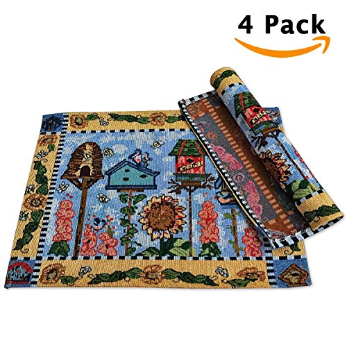 4 Sets Embroidered Cloth Placemats Tablecloth Vanity Woven Cotton Decorative Gorgeous Coffee Dining Pads Rustic Doilies Burlap Place Mats End Table Runner for Restaurant Bistro Banquet Pub Tree House
