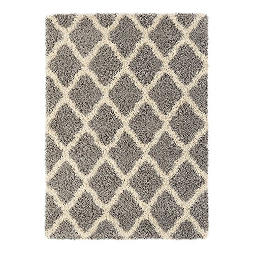 Sweet Home Stores Cozy Shag Collection Moroccan Trellis Design Shag Rug Contemporary Living & Bedroom Soft Shaggy Area Rug,   Grey & Cream,  39