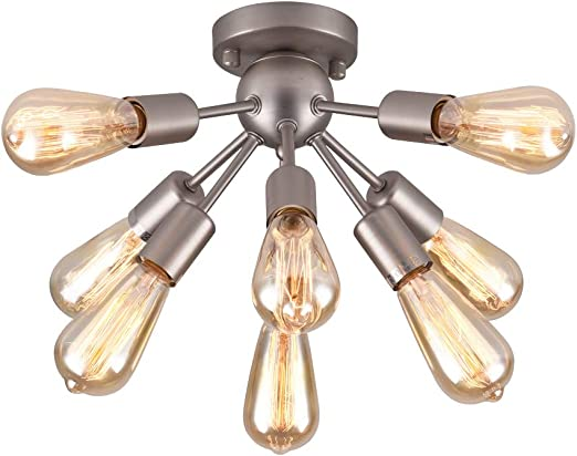 Mirrea Mid Century Semi Flush Mount Sputnik Ceiling Light With 8 Lights For Foyer Entry Way Hallway Kitchen Dining Room Small Bedroom Living Room Brushed Nickel Metal Fixture