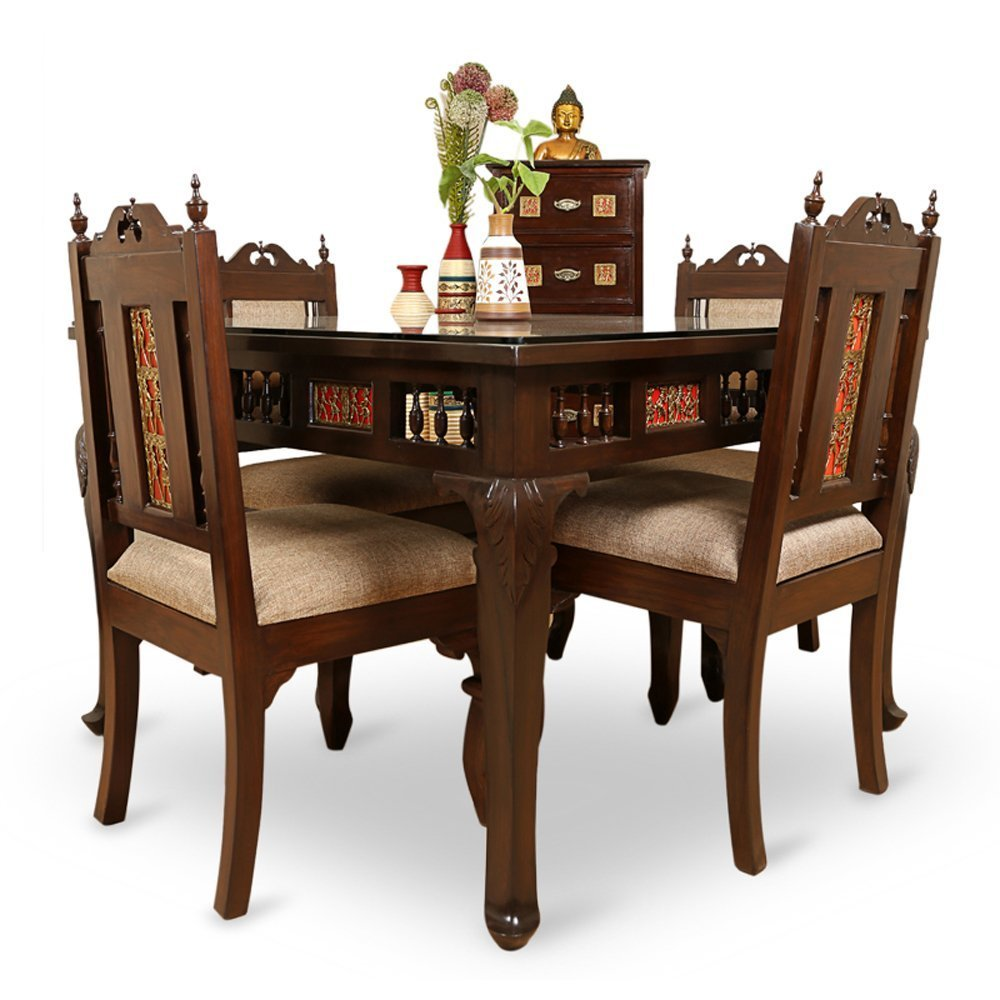 Genial Exclusivelane Teak Wood 4 Seater Dining Table U0026 Chair With Warli U0026 Dhokra  Work   Dinning Table Set Furniture For Home With Vase: Amazon.in:  Electronics