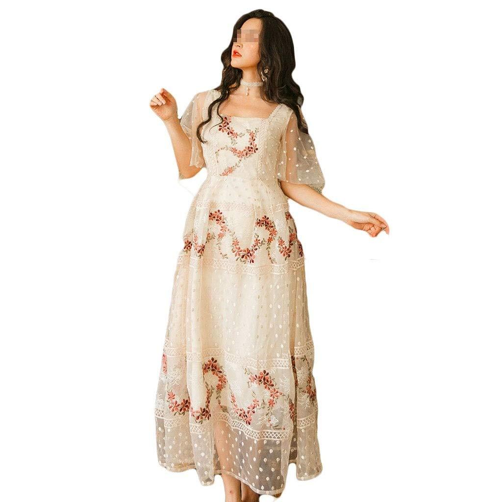 ドレス、女性のカクテルフォーマルスイング メッシュ刺繍ワンピースビーチドレス3サイズ スリーブスリムビジネスペンシル (サイズ さいず : L l) L l  B07SC1WJBN