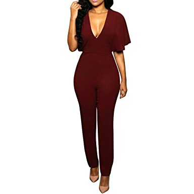 fe78bc5692 LAEMILIA Womens Fashion Plunge Off Shoulder Wide Leg Pants Jumpsuit Romper  Deep V-Neck Casual Playsuit Tracksuit  Amazon.co.uk  Clothing