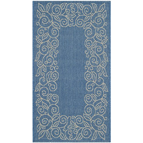 Safavieh Courtyard Collection CY5139C Blue and Beige Indoor/ Outdoor Area Rug (2' x (Rectangle Blue Rug)