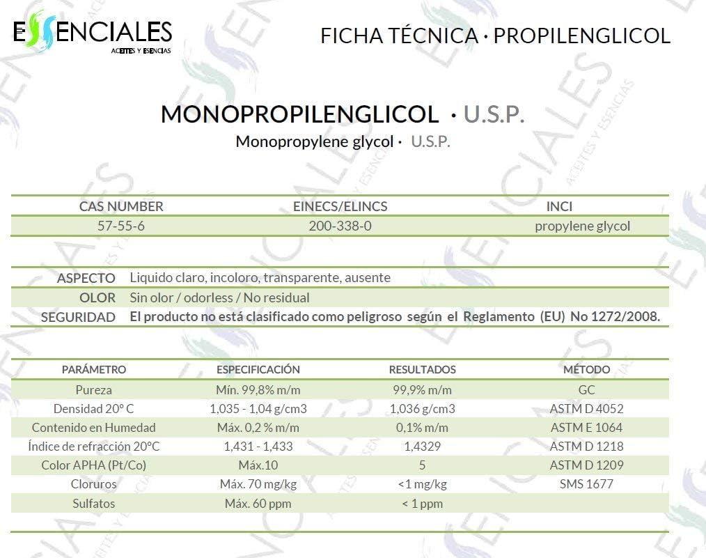 Essenciales - Propilenglicol USP - Pureza Certificada - 500 ml - PG Base | Uso Farmacéutico - Grado Alimentario - Vapeo: Amazon.es: Belleza