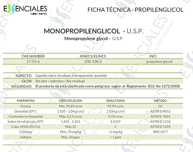 Essenciales - Propilenglicol USP - Pureza Certificada - 1 Litro - PG Base | Uso Farmacéutico - Grado Alimentario - Vapeo: Amazon.es: Belleza