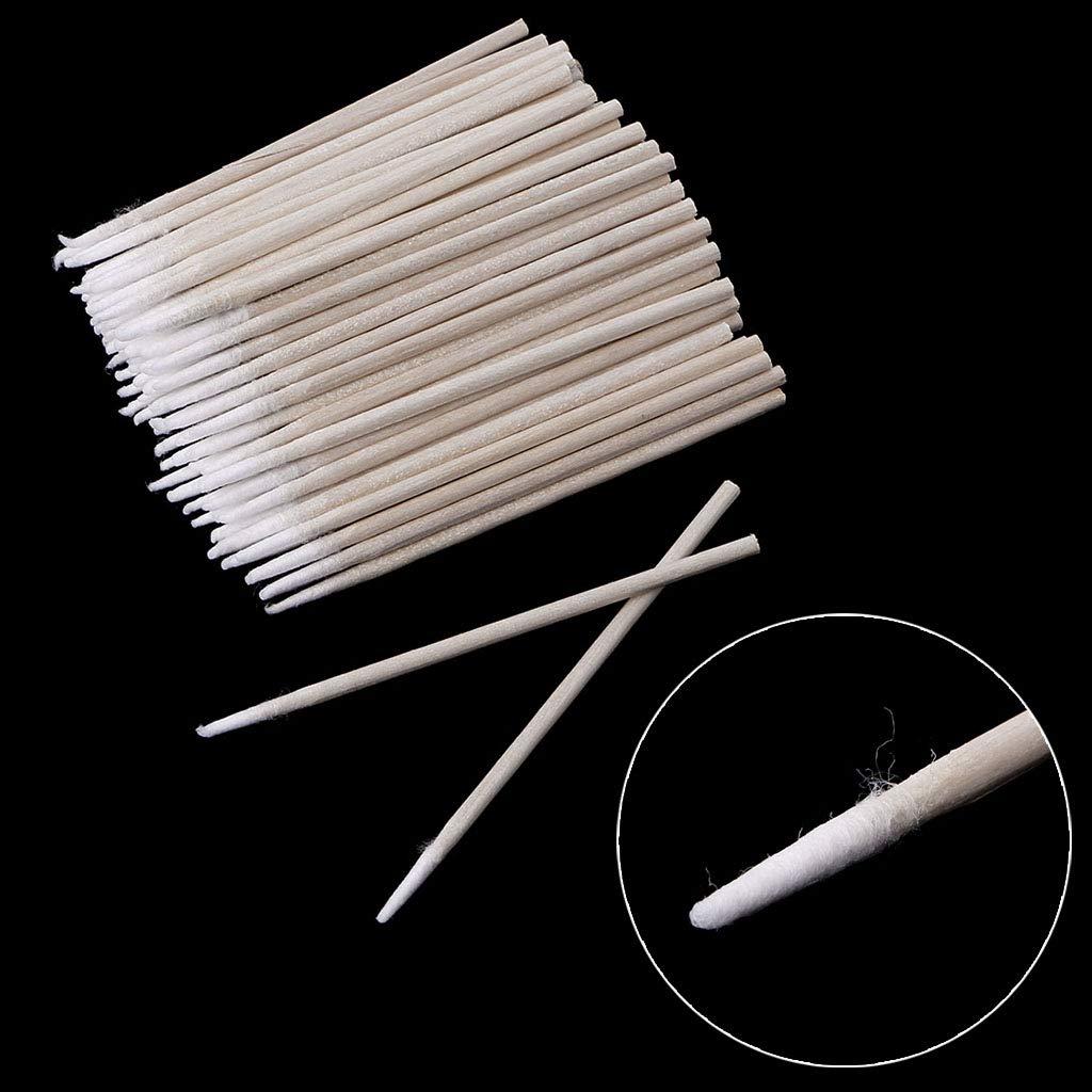 maquillaje Dispensador de bastoncillos de algod/ón con punta peque/ña mango de madera de bastoncillo de algod/ón peque/ño para tatuaje cejas u/ñas 100 unidades por paquete
