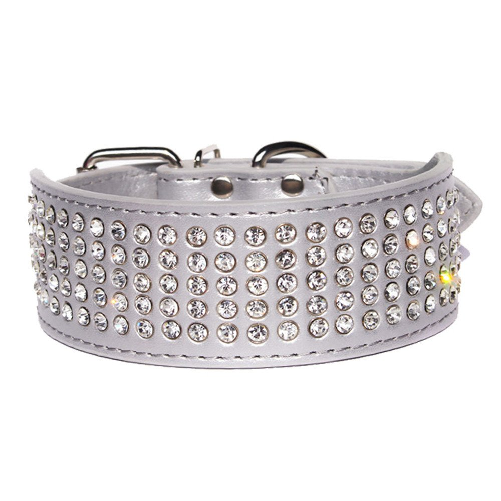 L Neck:21-24 , Rose red HOOTMALL Rhinestones Dog Collars-2 Wide Crystal Diamonds Studded PU Leather 5 Rows Sparkly Crystal Studded Collar for Medium and Large Dog