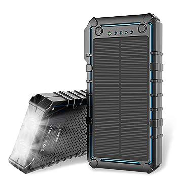 Soluser Cargador Solar, 13500mAh Premium de energía Solar Banco Dual USB Pack de baterías de