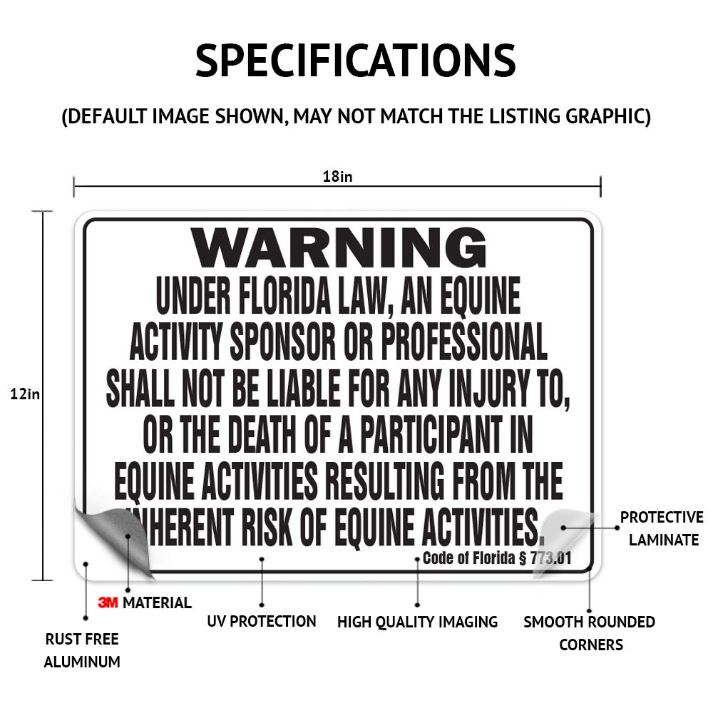 """Maine Equine 12/"""" x 18/"""" Aluminum Sign warning statute horse farm"""