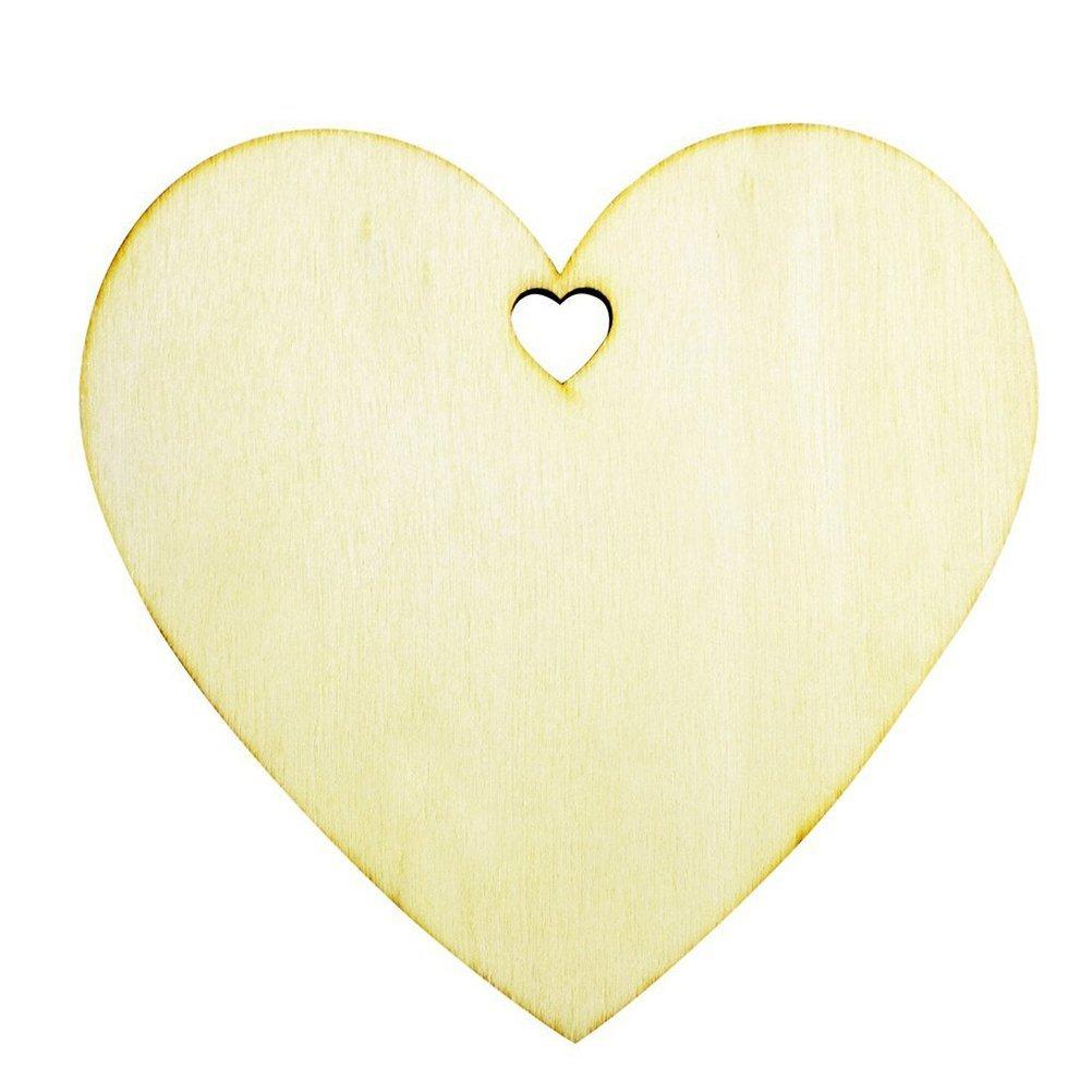 Pixnor 50 arte de forma de corazón de madera llana Tags placas decorativa 100mm