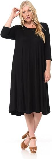 Women's A-Line Trapeze Plus Size Midi Dress