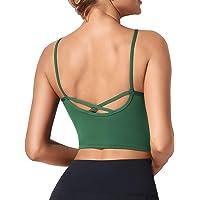 HyMeYou Womens Longline Crop Sports Bra Workout Running Shirt Yoga Tank Top Camisole Built Shelf Bra